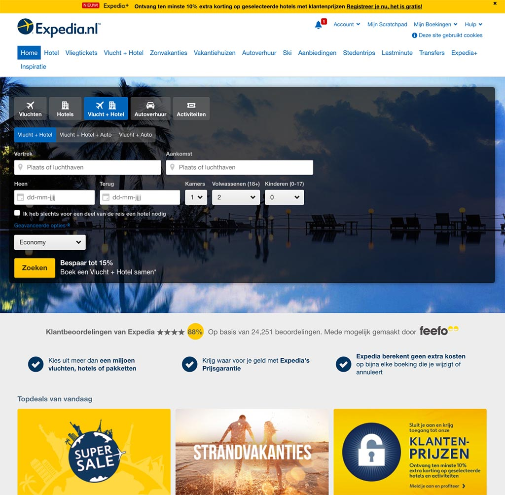 Expedia accepteert American Express Creditcards2