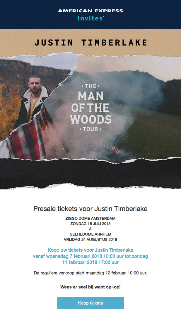 Justin Timberlake Man of the Woods tour Ticketmaster tickets via American Express3