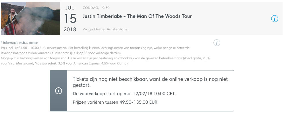 Justin Timberlake Ticketmaster presale tickets via American Express5