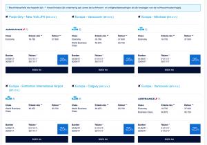 KLM aanbiedingen business class