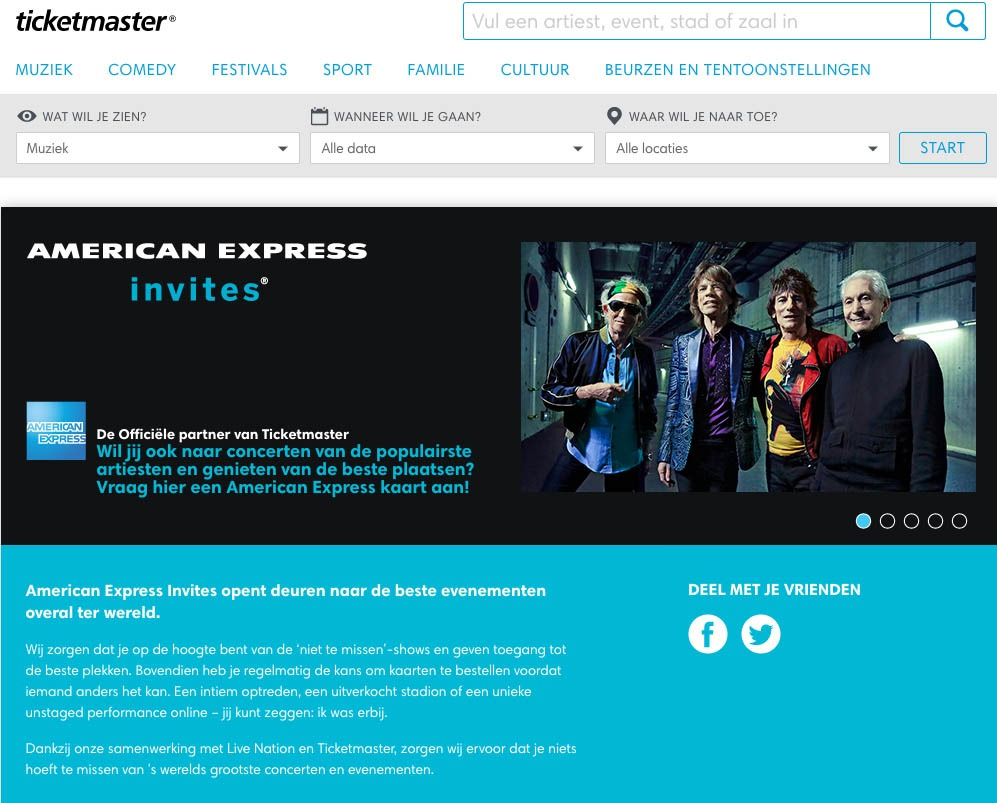 TicketMaster concertickets accepteert American Express Creditcards2