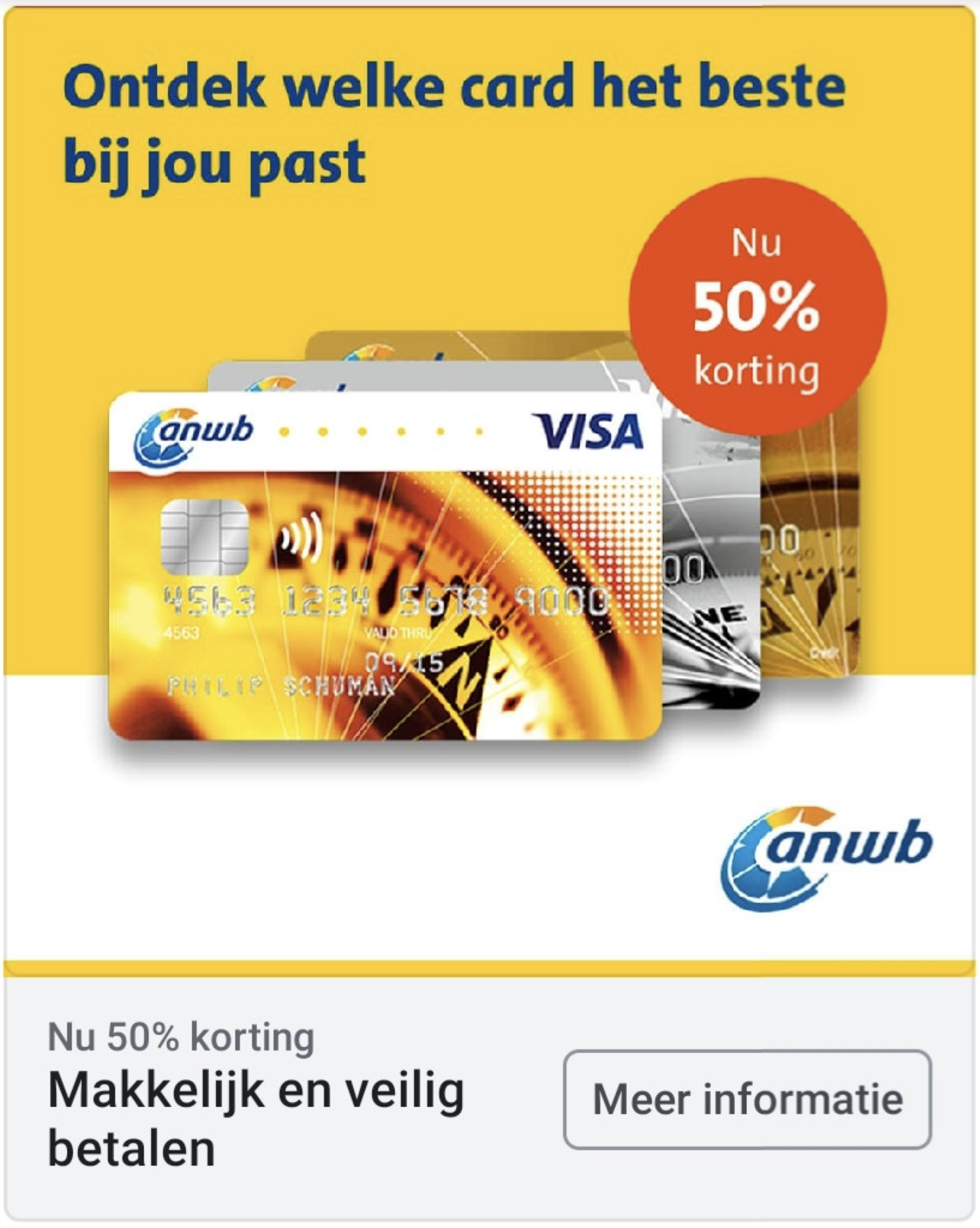 ANWB Creditcards met 50% korting
